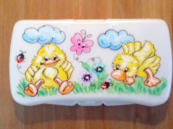 Baby Wipes Travel Case - Baby Girl Ducks - Handpainted and Personalized