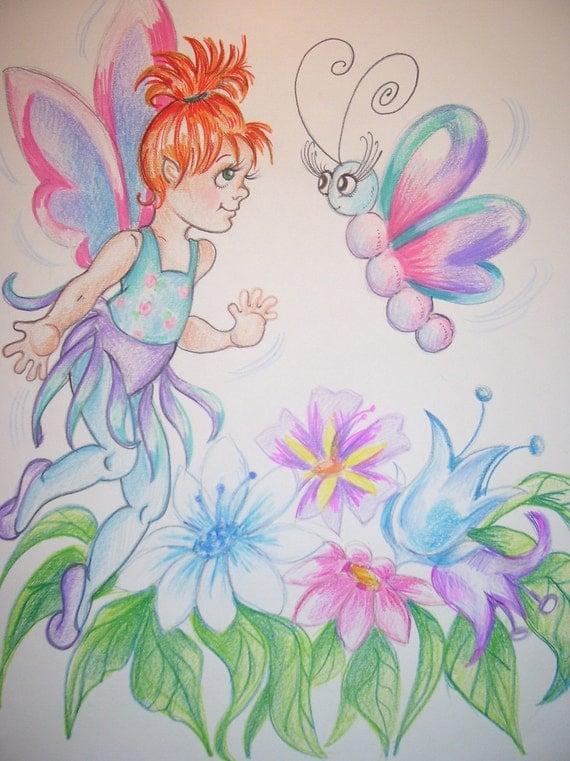 Fairy  and Friend -  Art Print  - 8.5 x 11