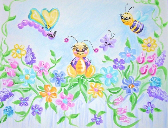 Hand Painted and Personalized Art on Canvas - Ladybug Garden - 16 x 20 inches