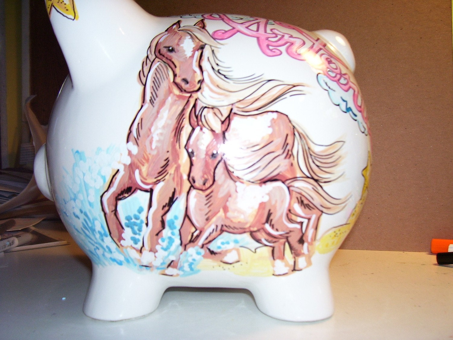 Unique handpainted personalized piggy bank horses for Really cool piggy banks