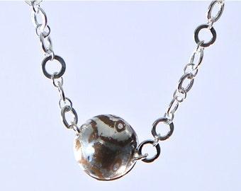 Mokume Gane Pendant with Handmade Sterling Silver Chain
