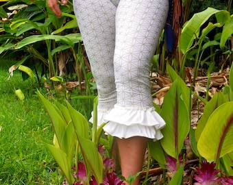 Small  - White and Silver Flower of Life Ruffle Pants  - Sacred Geometry - Bloomers - Dance - Yoga