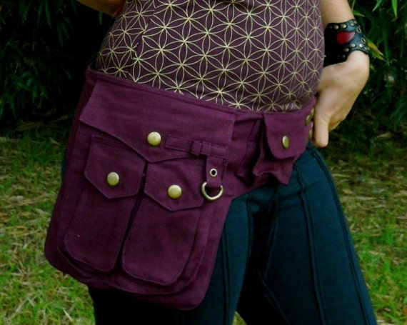 Small - Burgundy - Heroe Saddle Bags - Utility Bag - Vegan - Cotton Canvas - Belt with Pockets