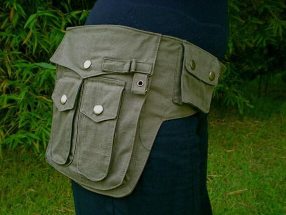 Medium - Olive Green Heroe Utility Bag - Saddlebags - Steampunk - Belt with pockets - Vegan