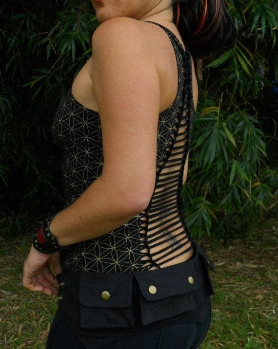 Small - Black - Cotton Canvas Pixie Pockets - saddlebags - hip belt - Vegan - belt with pockets