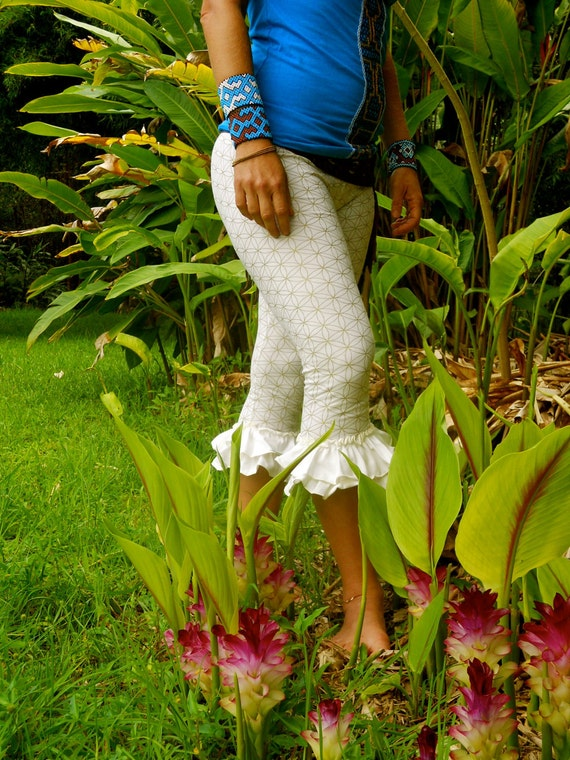 Small - White and Silver Flower of Life Ruffle Pants - Organic Cotton - Sacred Geometry - Bloomers - Dance - Yoga