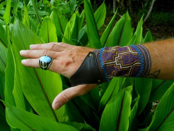 Large - Shipibo Embroidered Cuffs - Cotton Canvas and Leather - Shipibo Clothing - Ayahuasca clothing - Gloves - Gauntlets