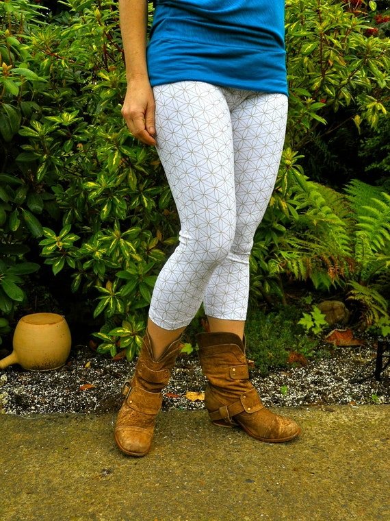 Small - White and Gold Flower of Life Yoga Pants - Sacred Geometry  - Hand Screened - Dance - Leggings - Seed of Life