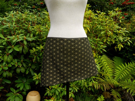 Large - Black and Gold Flower of Life Mini Skirt - Hand Screened - Tribal Fusion - Seed of Life - Sacred Geometry