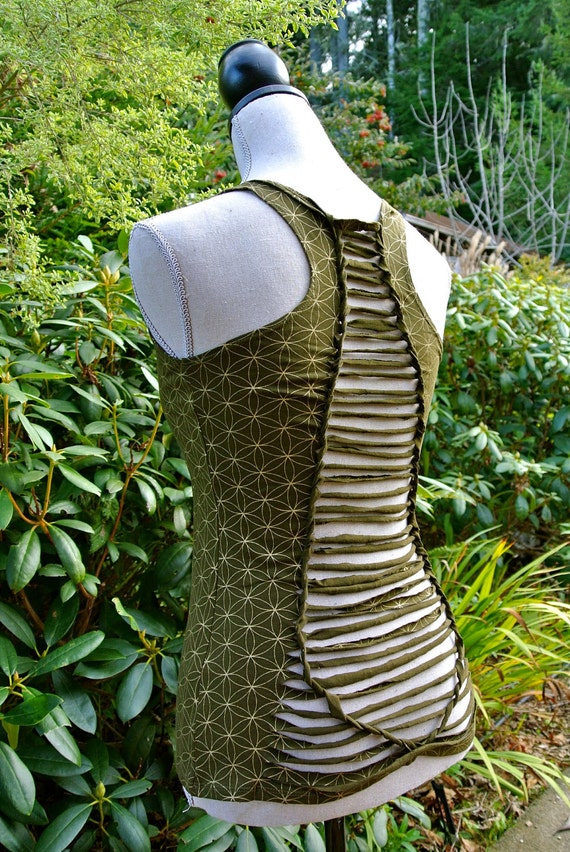 Small - Braided Olive Green and Gold Flower of Life Top - Organic Cotton  - Open back braided - Tribal Fusion Bellydance