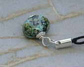 Key Chain Dangle Lampwork Charm FOB Copper Green Turquoise Pathway
