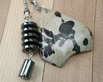 Fan Dangle / Flower Jasper and Hematite on Silver Light Pulls Switch Pull Black Red Tan Sand
