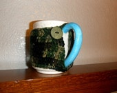 Crochet Button Cup Cozy Camouflage  Large Cup