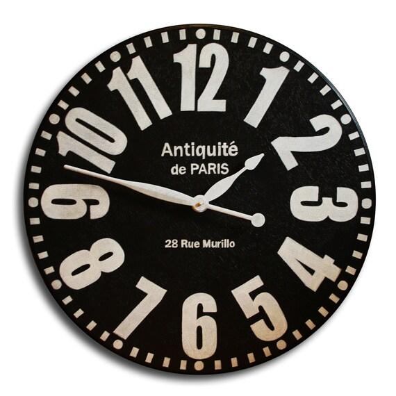 Large Wall Clocks 24in Antique Style BOLD PARIS Big Round Clocks Arabic Regular Numerals