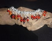 Silver /Red Crystal Fire and Ice Bangle Dangle New Years Eve Bracelet