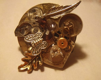 Steampunk Eclectic Nature Brooch\/Pin Recycled (watch parts and other found things)