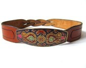 Braided Leather Waist Belt with Hand-Painted Buckle