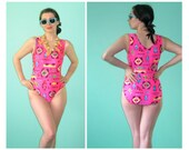 SALE 90's Hot Pink Navajo Design Onepiece Swimsuit