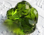 50% off with coupon code LASTCALL - Olive green teardrop Czech glass faceted 12mm x 16mm (8 beads)