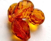 50% off with coupon code LASTCALL - Topaz teardrop Czech glass faceted 12mm x 16mm (4 beads)