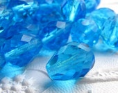 50% off with coupon code LASTCALL - Capri blue teardrop Czech glass faceted 10mm x 13mm (8  beads)