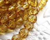 50% off with coupon code LASTCALL - Gold / amber Picasso - Czech glass faceted beads - 6mm round (50 beads)