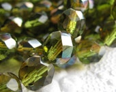 LAST ONES - 12mm Olive green  faceted rounds - with Celsian finish - Czech glass (6 beads)