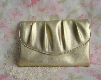 Vintage Gold Lamé Clutch - Gold Lame Clutch