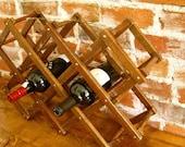 Vintage Accordian Wine Rack Holder- 10 Bottles