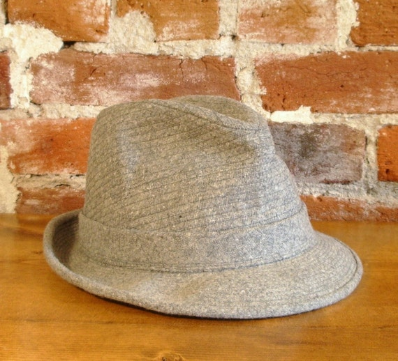 Classic Vintage Mens Gray Tweed Wool Fedora Hat- Perfect for Fall