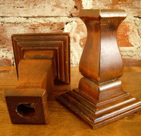 It's a Natural Romance- Set of 2 Vintage Wood Candlesticks