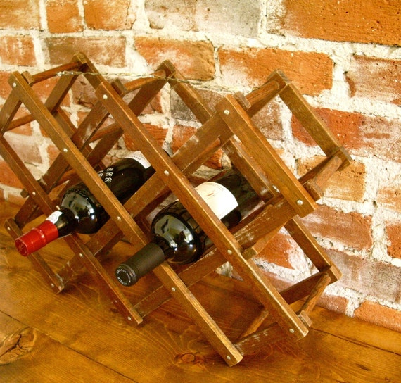 Vintage Accordian Wine Rack Holder- 10 Bottles