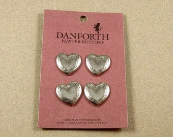Scrolled Pewter Heart Buttons (4)