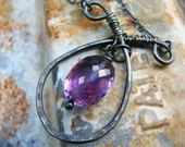 The Navigator - hammered sterling silver and amethyst necklace