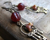 The key keeper - glass beads and brass charm earrings