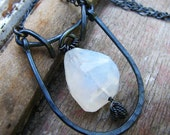 Break of Dawn - hammered silver and moonstone necklace