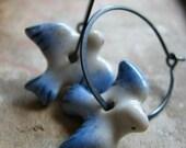 SALE Black Friday Cyber Monday take 20% off Bird earrings sterling silver hammered oxidized hoop earrings - Flight Pattern -