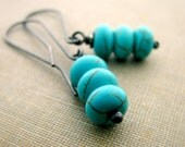 Sterling silver earrings Turquoise dyed Howlite handcrafted rustic simplicity- Stacked