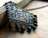 Vintage brass pendant necklace wrapped blue jasper beads rustic bohemian boho necklace - Bohemia