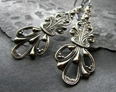 Antiqued silver earrings ornate pendants old world victorian style - The Mansion