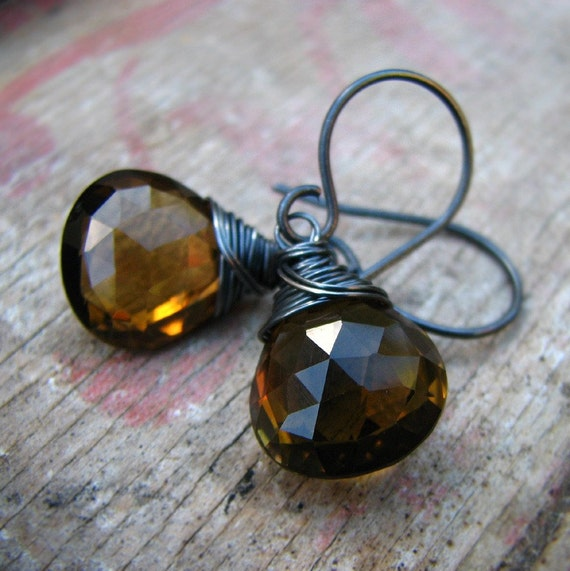 Ceylon - wire wrapped AAAA whiskey quartz sterling silver earrings