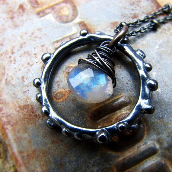 Albedo - moonstone and sterling silver ring necklace