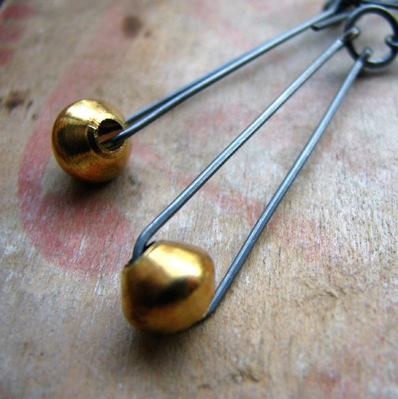 Sterling silver and brass earrings, minimalist, modern lines - The Trickster
