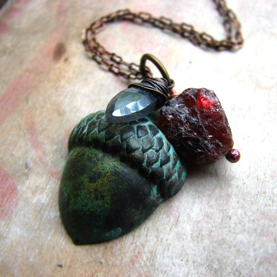 Acorn brass charm labradorite and garnet necklace rustic woodsy- The Enchanted Forest