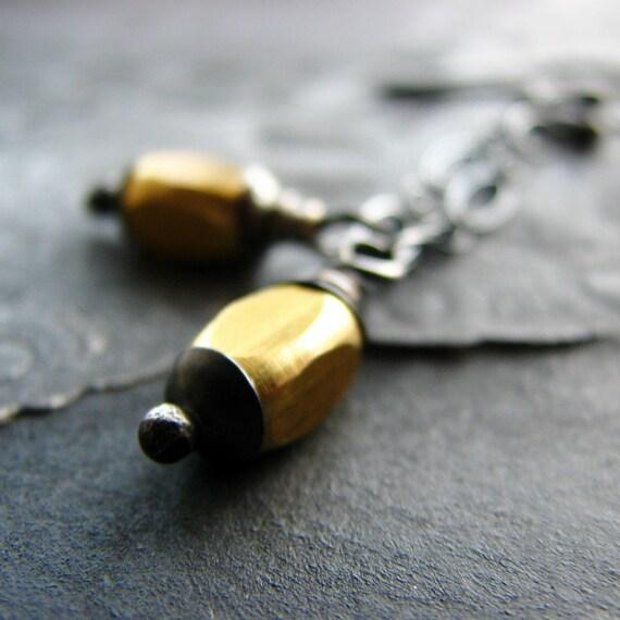Sterling silver earrings brass beads silver chain modern minimalist - Lost in the dark