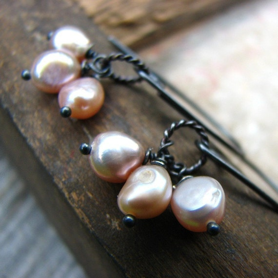 Freshwater pearls and sterling silver earrings - First Breath