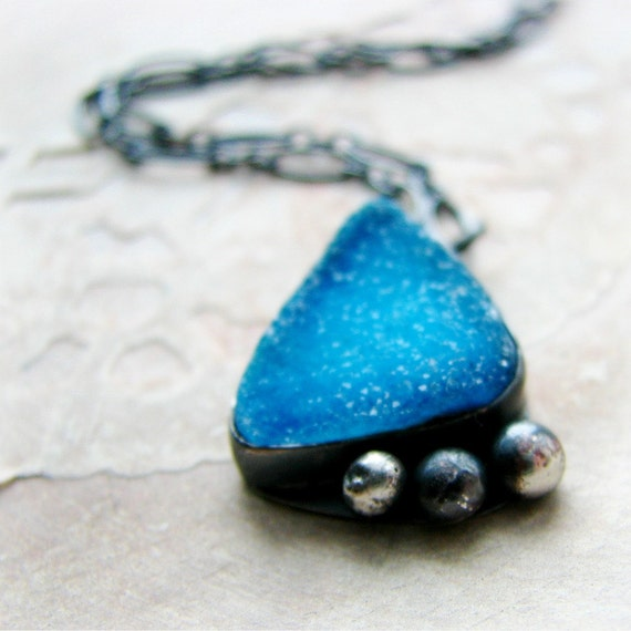 Druzy sterling silver necklace bezel set sky blue gemstone necklace rustic and vibrant - Intuition