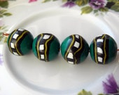 Green patterned rounds Polymer clay bead set