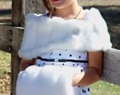 CHILD size faux fur wrap shawl shrug bridal wedding mink stole -(White, Ivory, Brown or Black)