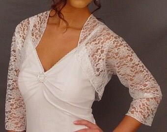 White lace bolero jacket bridal shrug wedding 3/4 sleeve